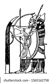 The image shows Assyrian soldiers with shields and weapons. She has a beautiful mesh suit. The Assyrian soldiers are strong, vintage line drawing or engraving illustration.