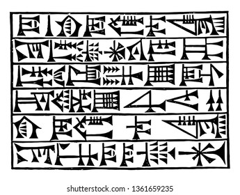 The image shows Babylonian script. It is one of the languages written in a row. Sumerian writing system called cuneiform, vintage line drawing or engraving illustration.