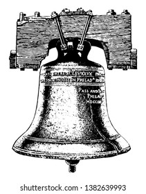 Image shows the cracked Liberty Bell. The bell first cracked when rung after its arrival in Philadelphia, and was twice recast by local workmen John Pass and John Stow, vintage line drawing