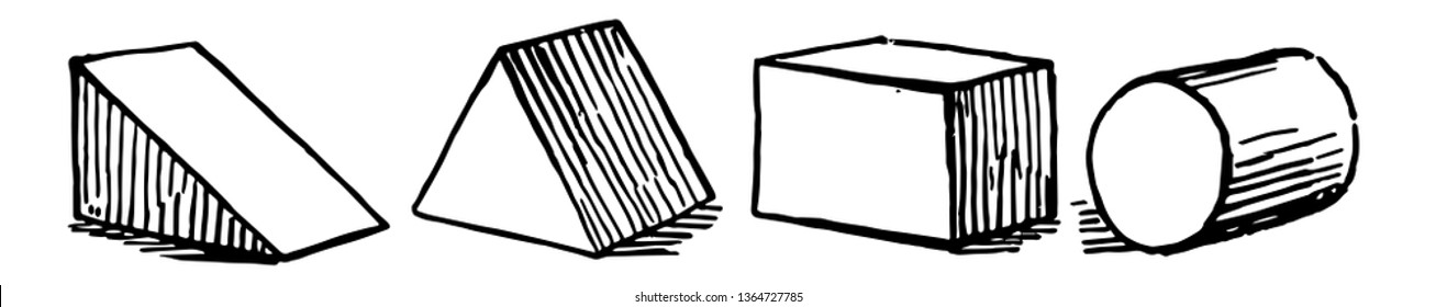 The image shows different types of oblique prisms: right triangular prism, isosceles triangular prism, rectangular prism, and cylinder, vintage line drawing or engraving illustration.