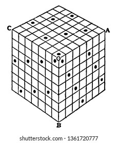 The image shows the Nasik Cube. Its various sections have the same unique properties and is also called magic hypercube, vintage line drawing or engraving illustration.