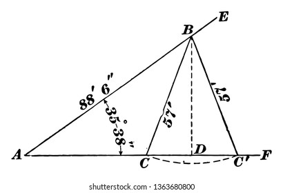 The image shows the oblique triangle used for the ambiguous case. It is the method of finding the external angle of the triangle with the help of geometry, vintage line drawing or engraving