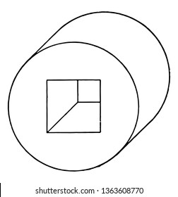 The image shows the oblique view of the hollow cylinder. It's like a horizontal concentric round disc and there's a small square hole inside and it's at its height base, vintage line drawing