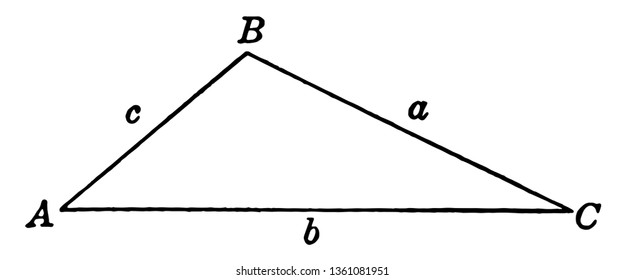 The image shows the obtuse triangle ABC. is all angles are greater than 90 degrees so we call them as obtuse angles that have three sides labeled by a, b, c, vintage line drawing or engraving