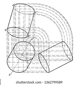 The image shows the three-axis plane Projection of the cylinder. It is a graphic layout of projections to build a cylinder from the base of the cylinder and is inclined, vintage line drawing