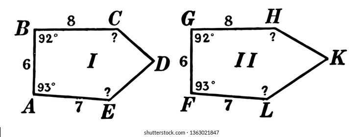 The image shows two congruent pentagons ABCDE and FGHKL. Those are the same, vintage line drawing or engraving illustration.