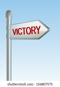 "Image of a sign pointing to ""Victory"" with a sky background."
