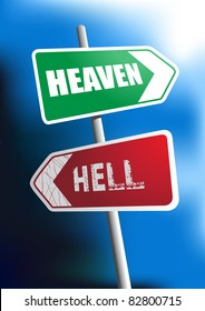 Image of signboard showing the direction to heaven and hell