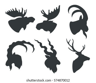 image silhouettes heads animals horns