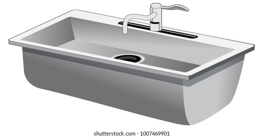 An image of a Single Basin Stainless Steel Kitchen Sink isolated on white.