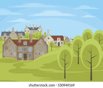Image of small English villages with old stone houses.  Rural landscape. Vector illustration.