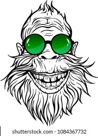 Image of smiling Yeti in green round sunglasses.