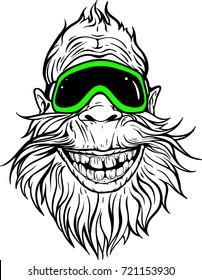 Image of smiling Yeti in ski goggles.