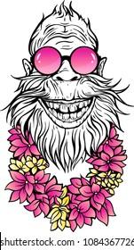 Image of smiling Yeti in sunglasses and hawaiian lei.