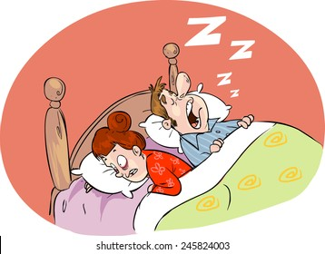 An image of a snoring husband