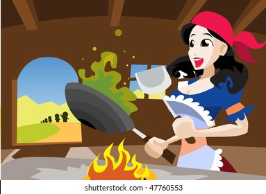 An image of Snow White merrily cooking something in a frying pan wearing a red scarf on her head and an apron to protect her clothes