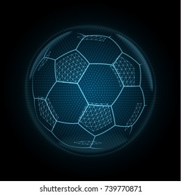 Image of a soccer ball made of illuminated shapes. Sport illustration consisting glowing lines, points and polygons in the form of football ball. Abstract neon wireframe concept.