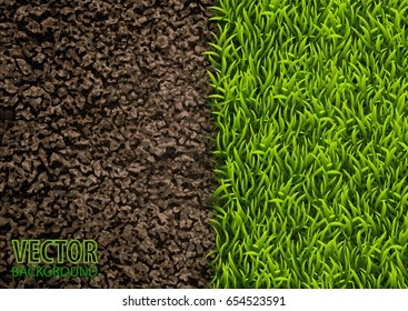 Image of soil and green grass texture. Natural texture. Overhead view. Vector illustration nature background.