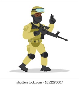 Image of a Soldier Marines with Weapons in Hands who Give Orders. Equip a Military Person in the Army. Cartoon Image on a White Background.