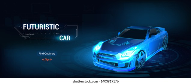 Image of a sport car. Colorful 3d car in futuristic style, smart car concept. Vector auto wireframe concept. Web page isometric illustration