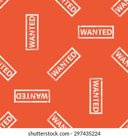 Image of stamp with word WANTED, repeated on orange background