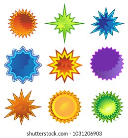 An image of a Starburst Star Flat Icon Set isolated on white.