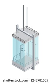 Image of a steel and glass panoramic elevator with transparent windows in isometric style on a white background Element of the building structure  lifting people to the floor Vector illustration