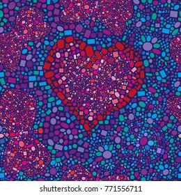 The image in style of a mosaic, from fine details of a different form and the sizes in is red-blue tones. Heart is surrounded by the butterflies and a stylized ornament against a dark background.