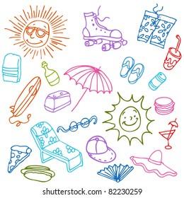 An image of a summer beach items.