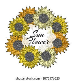 Image with sunflowers. Framing with sunflowers. Round sunflowers frame. Discount 50 percent. Vector illustration.