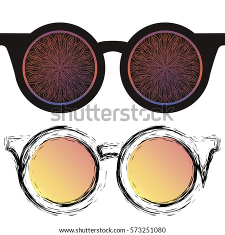 65084f0b3bb Image of sunglasses in the style of a sketch of the original brush. vector.  It can be used as a logo