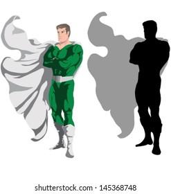 Image of superhero standing over white background. Vector illustration.