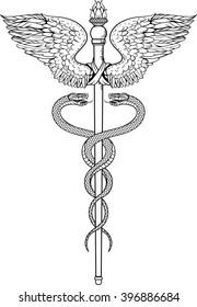 image of symbol of Caduceus. black and white