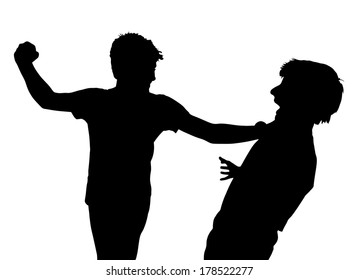 Image of Teen Boys In Fist Fight Silhouette