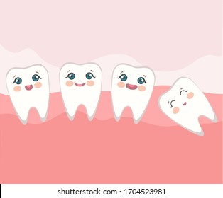 image of teeth in the mouth of a man with cute faces on a pink background. stock isolated illustration on white background for printing on postcards, websites, shop advertising in cartoon style