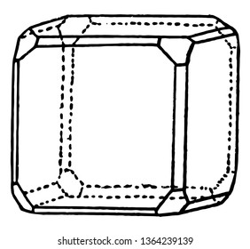 An image that shows is a regular quadrilateral, so it has four equal sides and four equal angles, vintage line drawing or engraving illustration.