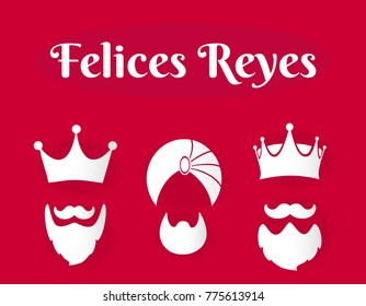 "image with three crowns with the message written ""felices reyes"", Latin tradition of January 6, day of the wise kings of the east."
