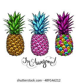 Image with three multicolored pineapples fruit lettering awesome on white background. Print t-shirt, graphic element for your design. Vector illustration.