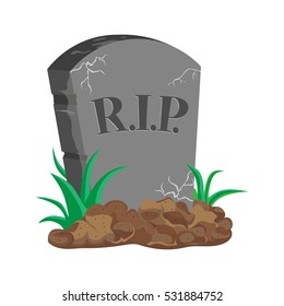 image tombstone, RIP, flat design, vector image
