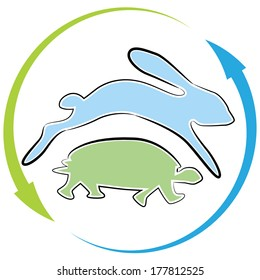 An image of a tortoise hare race cycle.