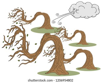 An image of a Twisted Trees and Cloud Blowing Wind cartoon.
