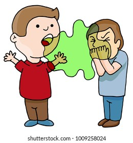 An image of a Two Men Talking Bad Foul Smelling Breath cartoon isolated on white.