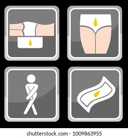 An image of Urinary Incontinence Protection Icon Set of diapers and underpads.