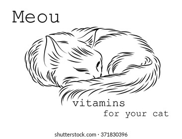 Image to use on packages, boxes or bottles of vitamins for cats. It can be used as a banner or logo as well as in advertising or sales for your convenience