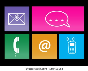 Image of various colorful communication metro icons.