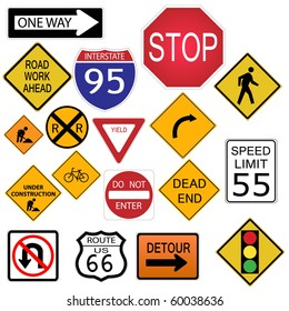 Image of various road and highway signs on a white background.