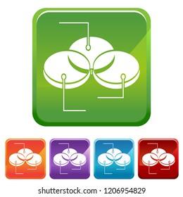 An image of a venn diagram chart icon button set.