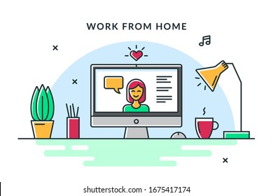 Image of a video conference or video chat. Vector flat illustration of a cozy workplace. Concept for work from home, telecommuting, freelance or outsourcing.