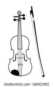 Image of violin and bow in editable vector