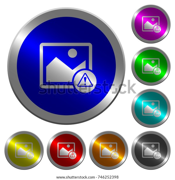 Image warning icons on round luminous coin-like color steel buttons